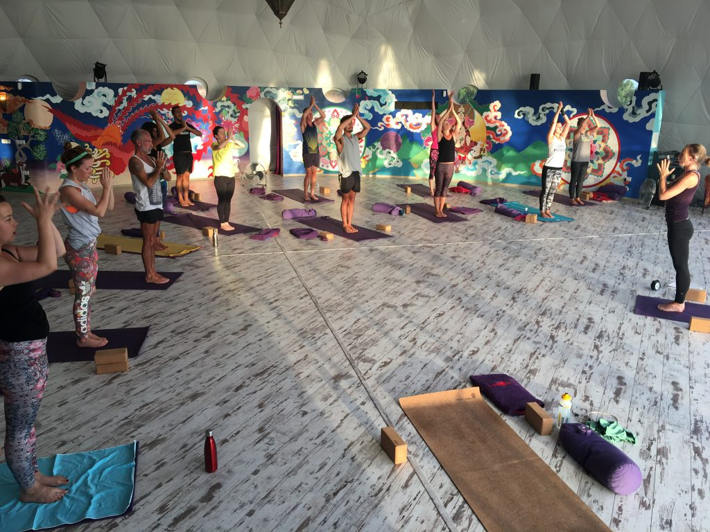 Me teaching a yoga class in the Om Dome at Suryalila Retreat Centre in Spain.